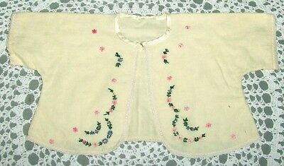 Vintage Flannel INFANT bed Jacket Embroidered Yellow 1940's or 50's