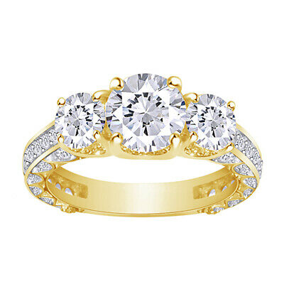 2.20 Ct Round Diamond For ever Brilliant Bridal Engagement Ring 14k Yellow Gold