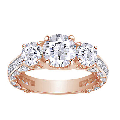 2.20 Ct Round Diamond For ever Brilliant Bridal Engagement Ring 14k Rose Gold