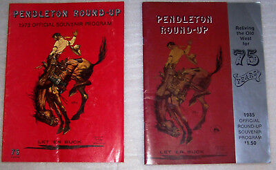 2 Pendleton Round Up Rodeo Programs 1973 1985 with Rainier Beer Ad