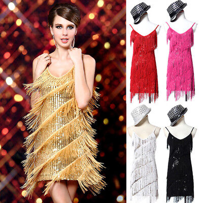 1920s Fringed Flapper Dress Evening Gatsby Cocktail 1920's Party Tassel Dance