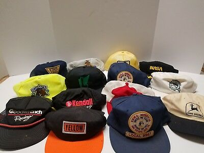 Lot of 14 Mixed Vintage Mesh Trucker Hats Patch Strapback