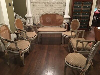 19th Century French Louis XV-style chairs, settee, window bench and pedestal