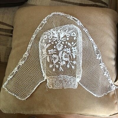 Antique Lace Cap Breton French 19th Century Embroidered Net Muslin Bonnet Hat