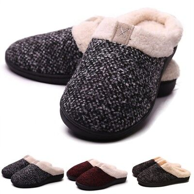 a9f72c30411 Men Women Cozy Memory Foam Slippers House Shoes Indoor Outdoor Anti-Skid  Shoes