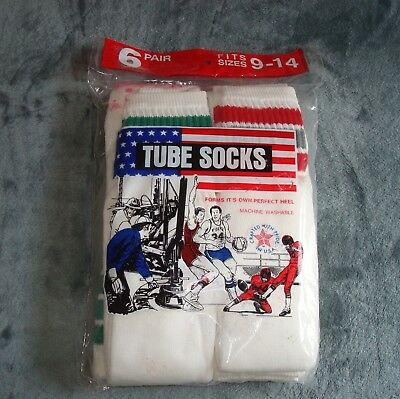 6 VTG NOS OVER THE CALF TUBE SOCKS MENS 9-14 USA KNEE HIGH NEW STRIPED 70s 80s