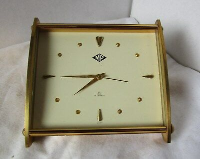Wonderful Gold Desk Alarm Clock from IMHOF Model MP 8 Day 15 Jewels