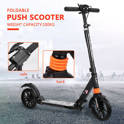 Push Scooter Black Hand Disc Brake Large Wheels Folding Scooter Dual Supension