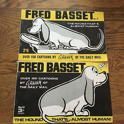 2 Two Fred Basset Books No 7 And No 13 1960's? Secure Bindings Clean Pages