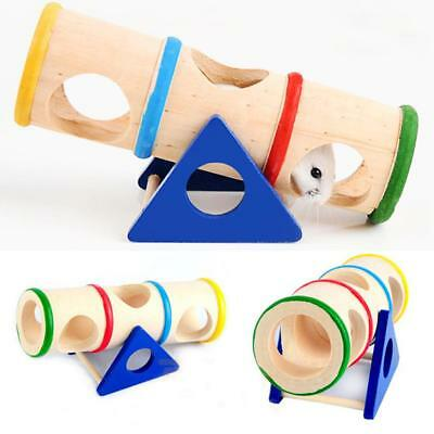 Hamster Seesaw Tunnel Tube Animal Wooden Mice Playground Pet Toys Pet Supplies
