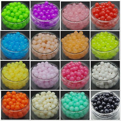 NEW 6/8/10/12mm Acrylic Round Pearl Spacer Loose Beads Jewelry Making 20 color