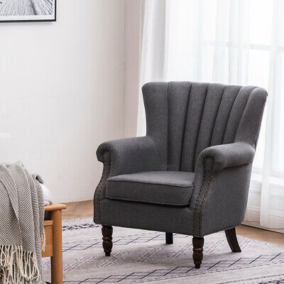 Retro Wing Back Armchair High Backrest Linen Fabric Tub Chair Lounge Living Room