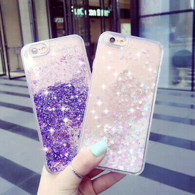 Bling Glitter Liquid Water Clear TPU Phone Case Cover For iPhone 7 6 6s 8+ X SE