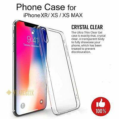 Case For iPhone Xs XR Xs Max Thin Silicone Crystal Clear Cover Free Protector