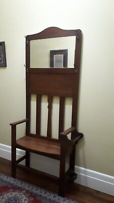 Antique Hall Stand With umbrella storage +  Seat. Mirror. PICK UP ASCOT VALE.