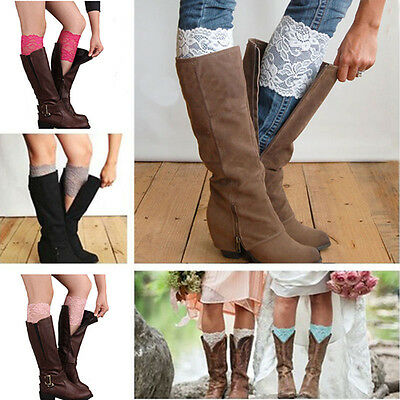 Free Shipping Stretch Lace Flower Leg Warmers Trim Toppers Boot Socks Cuffs CN