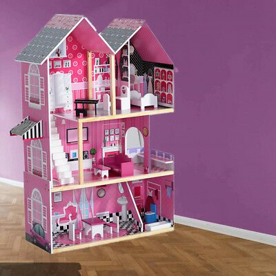 Pananan Wooden Dolls House With Furnitures Staircase Barbie Kids Christmas Gift