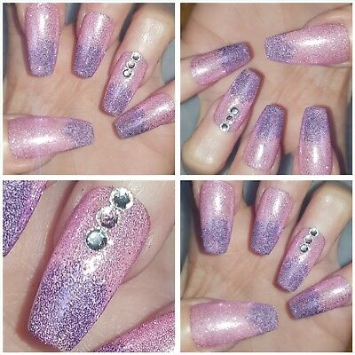New Pastel Pink Purple Metallic Ombre Long Coffin Nails X 20