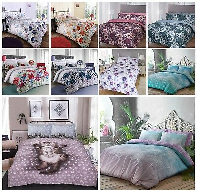 Floral Duvet Cover with Pillowcases Single Double King Polycotton Bedding Set