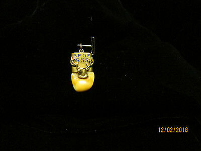 Antique Elks Tooth With 10K Gold Cap And Red Cabochon Crystal Eye Bpoe