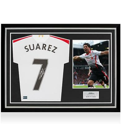 Luis Suarez Back Signed Liverpool 2013-14 Away Shirt In Classic Frame: Option 1