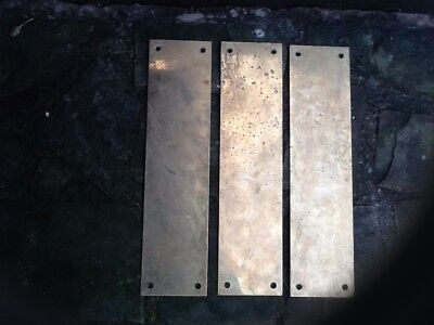 Vintage Reclaimed solid Brass door Finger Plates X 3