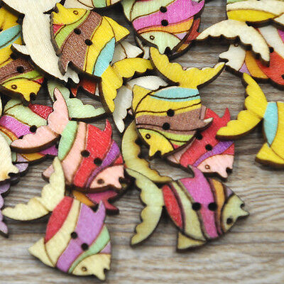 50/100pc Mix Fish Wood Buttons DIY Craft Scrapbook Sewing Appliques W224