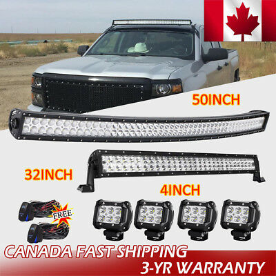 50inch Curved LED Light Bar Combo+32''+ 4× 4inch CREE Spot Work PODS Offroad SUV