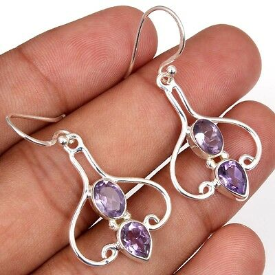 Elegant Faceted Amethyst Gemstone 925 Solid Sterling Silver Earring Ebay C 4574