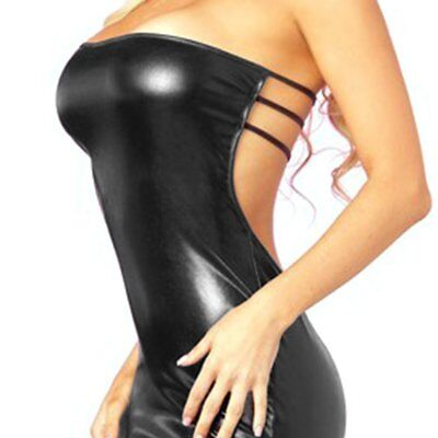 Sexy Strapless Women Patent Leather Dress Nightclub Skinny Backless Dress MS