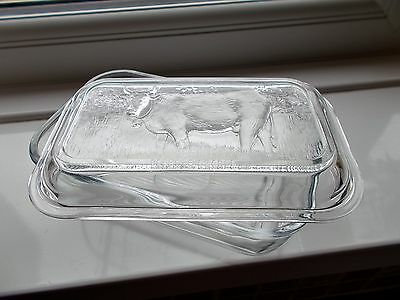 Vintage Arcoroc  Ribbed Glass Butter Dish With Cow Design Lid