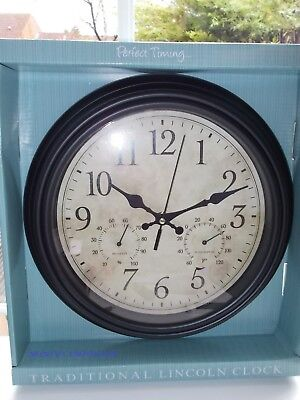 New Lincoln Wall Clock With Temperature & Humidity Gauge Black 30cm Diameter