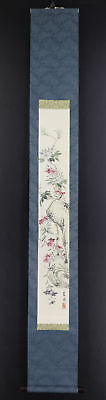 """JAPANESE HANGING SCROLL ART Painting """"Flowers"""" Asian antique  #E5132"""