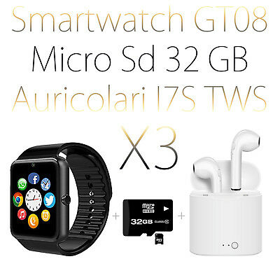 Orologio Auricolari Smartwatch Android Ios Bluetooth Micro Sd Gt08 Nero + 32Gb