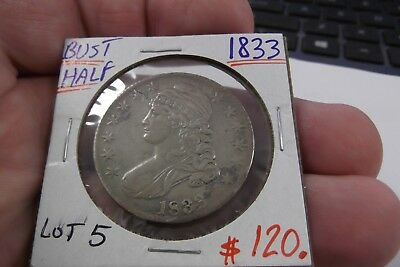 1833 Capped Bust Half Dollar   ... Lot 5 ......  Free Shipping