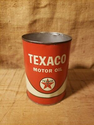 Vintage Texaco 1 Quart Motor Oil Can Automobilia Advertising With Top Cut Off