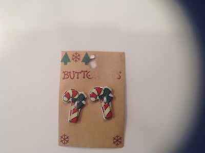 28 Ceramic Buttons Christmas , Candy Canes,  On Cards 14 Sets  Vintage1987