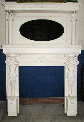 10022-801: Antique European Hand Carved Wood Fireplace Surround circa 1920s