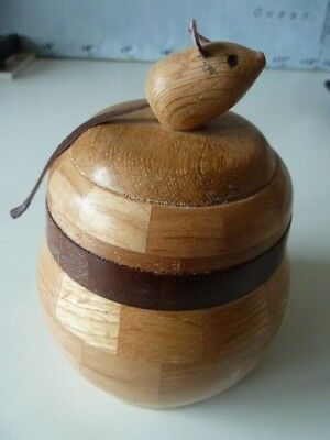 Laminated Hardcrafted Wood Pot With Lid~Mouse  With Leatherette Ears & Tail~7""
