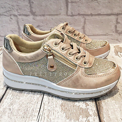 Ladies Gold Nude Sparkly Trainers Diamante Glitter Lace up Platform casual  size 10f9dd91f8
