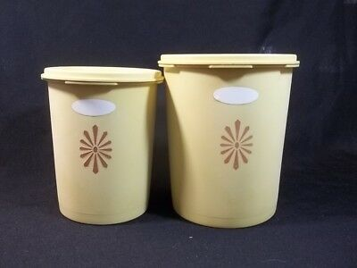 Tupperware Canisters Vintage Yellow Servalier Lids 809 and 811