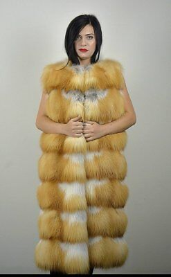 Real Canadian Red Fox Fur Vest Full Skins.