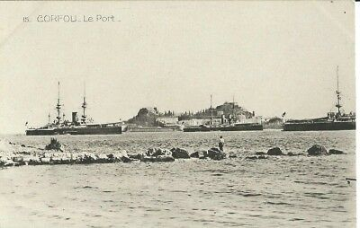 Corfu, The Port With Naval Ships, Black And White Postcard