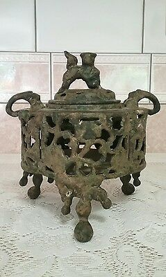 Antique Vtg Iron Incense Burner, Foo Dog Lid, Handles and Raised Stamp Japan