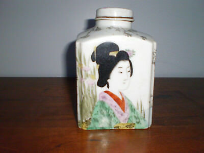 Antique Sgnd Japanese Porcelain Tea Caddy 19th Century Beautiful Hand Painted