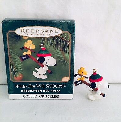 Hallmark Miniature Ornament Winter Fun With Snoopy #3 In Series