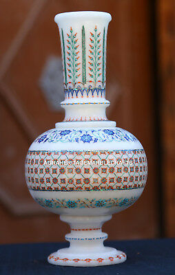 White Marble Flower Pot Jar Mosaic Inlaid Floral Design Beautiful Gifts H1959