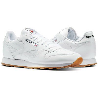 Reebok Classic Leather 49797 Mens Sneakers Walking Shoes White Gum Size