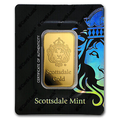 1 oz Gold Bar - Scottsdale Mint Certi-Lock® (Lion, Black Assay) - SKU#180677