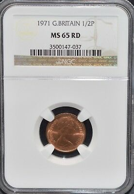1971 HALF PENNY 1/2p NGC MS65 RD Great Britain UK Coin